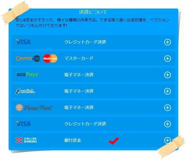 ベラジョンカジノのクレジットカード入金・銀行送金