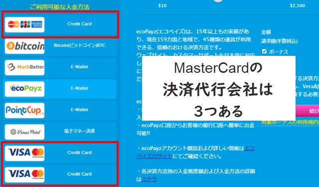 ベラジョンカジノのMasterCard入金