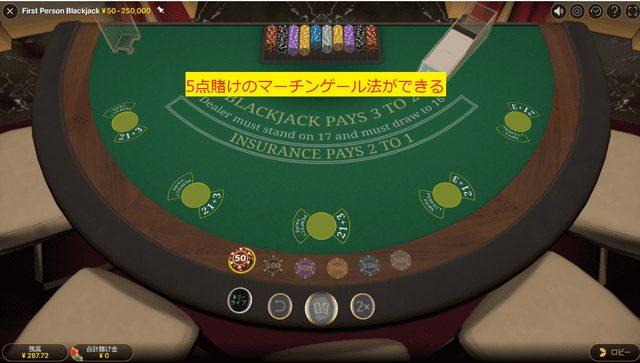 マルチハンドでプレイできるブラックジャックでのマーチンゲール法