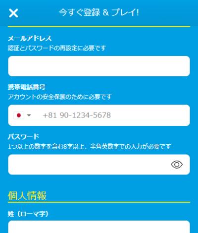 個人情報入力ページ